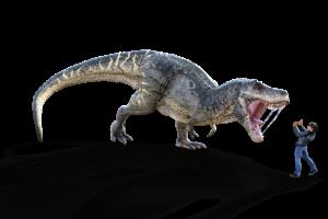 verängstigte Person steht vor einem Dinosaurier mit aufgerissenem Maul Können wir die Angst überwinden?